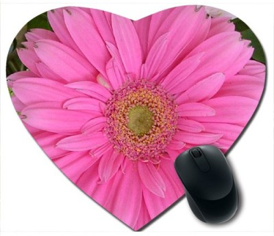 Awwsme Big Pink Flower Heart Mousepad