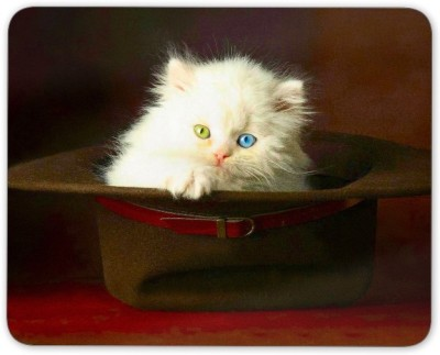 Digiclan Digiclan White Cat in Hat Mouse Pad-SZMP099 Mousepad