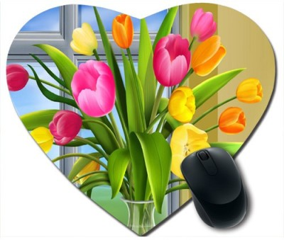 Awwsme Beautiful Flowers In Flowerpot Heart Mousepad