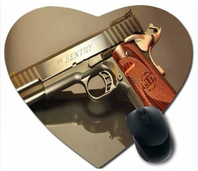 awwsme Golden And Brown Gun Heart Mousepad
