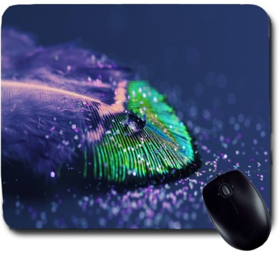 Awwsme A Colourful Feather With Due On It Mousepad