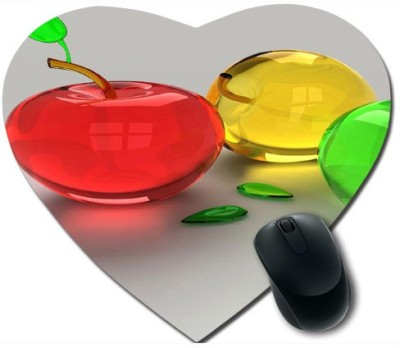 awwsme Red Apple And Green Heart Mousepad
