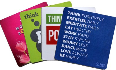 QuoteSutra Set for Positive Thinking Set of 4 Mousepad