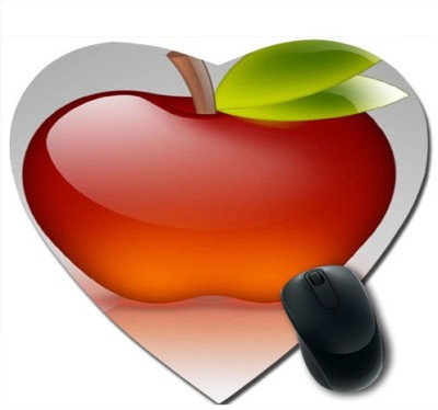 awwsme Red apple with leaves Heart Mousepad