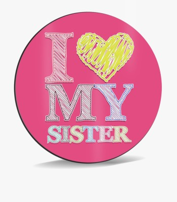 SKY TRENDS Sky Trends I Love My Sister With Shade Small Yellow Heart Pink Color Gifts. Mousepad