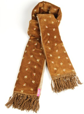 Goguava Tan Velvet Embroidered Stole Embroidered Women's Muffler