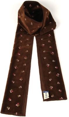 Goguava Dark Brown Embroidered Velvet Stole For Men Solid Men's Muffler
