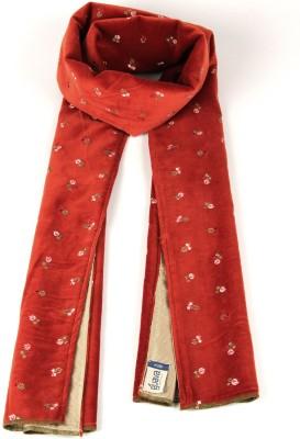 Goguava Red Embroidered Velvet Stole For Men Solid Men's Muffler