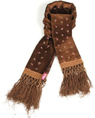 Goguava Brown Velvet Embroidered Stole Embroidered Women's Muffler
