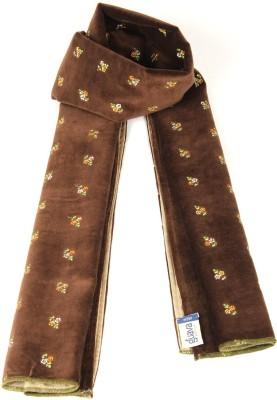 Goguava Brown Embroidered Velvet Stole For Men Solid Men's Muffler