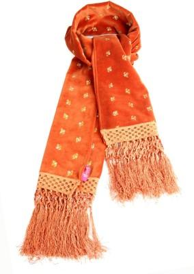 Goguava Orange Velvet Embroidered Stole Embroidered Women's Muffler