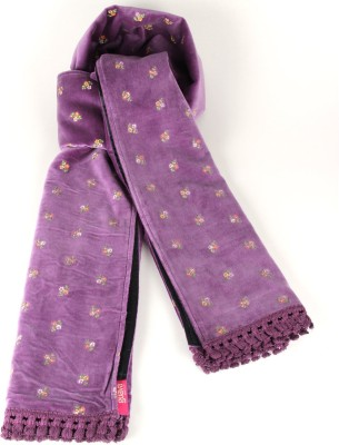 Goguava Violet Velvet Embroidered Stole Embroidered Women's Muffler