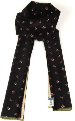 Goguava Black Embroidered Velvet Stole For Men Solid Men's Muffler