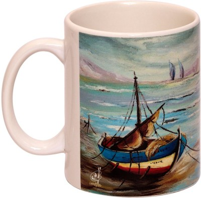 IMFPA Fishing Boats Tied To The Shore Ceramic Mug