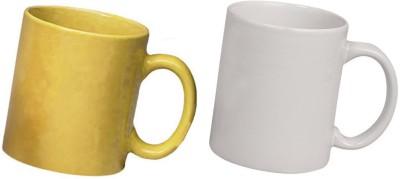 Snapgalaxy Yellow and White Combo pack 2pcs Ceramic Mug