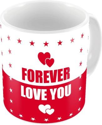 Little India Red Designer Romantic Print Coffee s Pair 732 Ceramic Mug