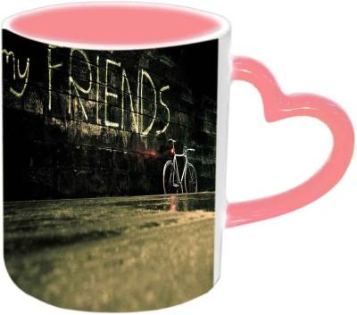 Jiya Creation1 For My Friends Pink Heart Handle Ceramic Mug