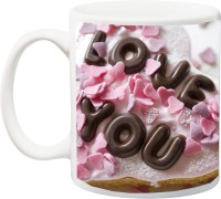 IZOR Valentines Gift ; Boyfriend/Girlfriend;Beautiful Stylish Strawberry And Chocolaty Love Font Printed Ceramic Mug