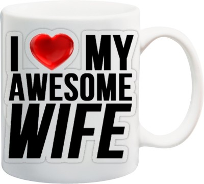 Awwsme Love My Awesome Wife Ceramic Mug