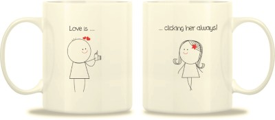 TwoGud Love Is, Clicking Her Always! Bone China Mug