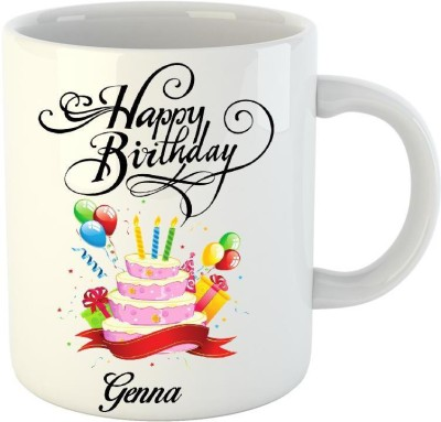 Huppme Happy Birthday Genna White  (350 ml) Ceramic Mug
