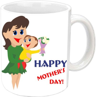 Jiya Creation1 Happy Mother's day with cute baby & Mother White Ceramic Mug