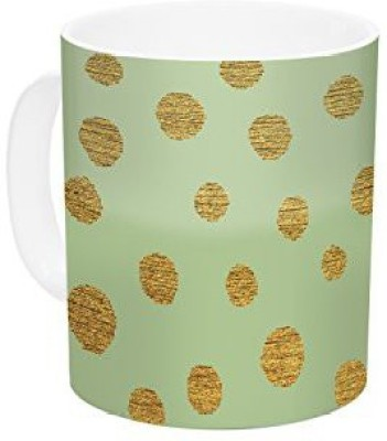 Kess InHouse InHouse Nika Martinez Golden Dots and Mint Green Gold Ceramic Coffee , 11 oz, Multicolor Ceramic Mug