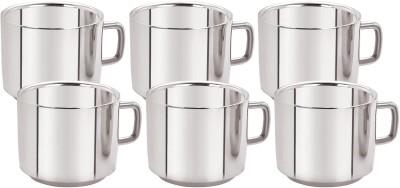 Aagam Regular Tea Stainless Steel Mug(80 ml, Pack of 6)