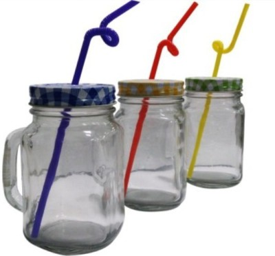 AdorroBella Multi color jar with straw Glass Mug