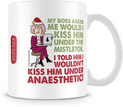 Tashanstreet Aunty Acid - Kiss under the mistletoe Ceramic Mug
