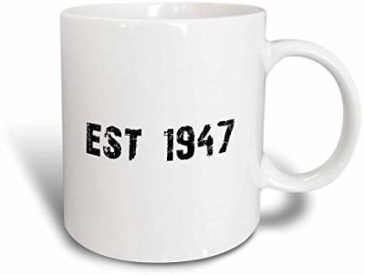3dRose Grunge Est Established in 1947 forties Baby Born Child of the 1940S Personal Custom Birth Year Ceramic, 15 oz, White Ceramic Mug(60 ml) at flipkart