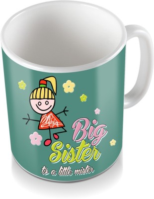 SKY TRENDS GIFT Big Sister To A little Mister Flower Coloring Design Gifts For Rakshabandhan Coffee Ceramic Mug