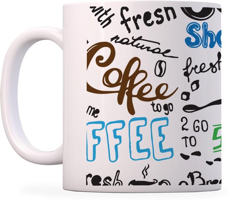 100YELLOW Coffees - Many Words Printed Ceramic Mug(350 ml)