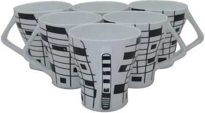 Classique Black And White Coffee/ Tea Cups Set Of 6 Pieces (CLMG2403) Bone China Mug