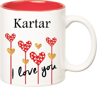 Huppme I Love You Kartar Inner Red  (350 ml) Ceramic Mug