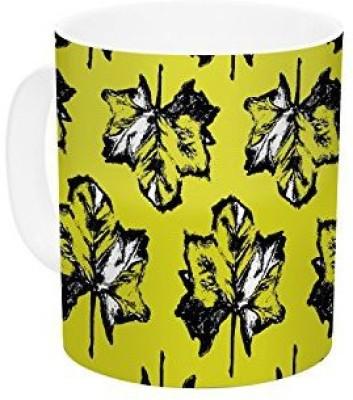 Kess InHouse InHouse Julia Grifol Green Tree Leaves Yellow Ceramic Coffee , 11 oz, Multicolor Ceramic Mug