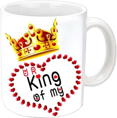 Jiya Creation King Of Heart Valentine White  Ceramic Mug