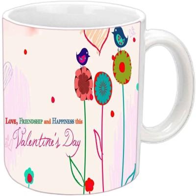 Jiya Creation Valentine Love Birds White  Ceramic Mug