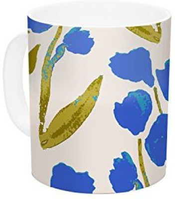 Kess InHouse InHouse Gukuuki Shirley Gem Blue Green Ceramic Coffee , 11 oz, Multicolor Ceramic Mug
