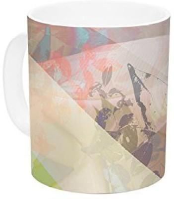 Kess InHouse InHouse Gabriela Fuente Patch Garden Tan Yellow Ceramic Coffee , 11 oz, Multicolor Ceramic Mug