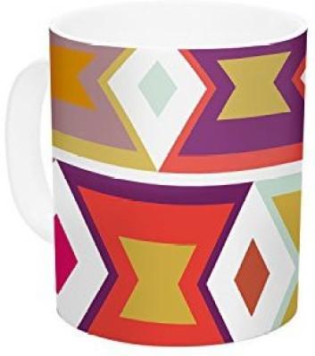 Kess InHouse InHouse Pellerina Design Aztec Weave Orange Purple Ceramic Coffee , 11 oz, Multicolor Ceramic Mug