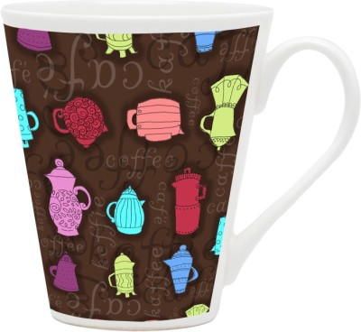 HomeSoGood Colorful Utensils Pattern Ceramic Mug