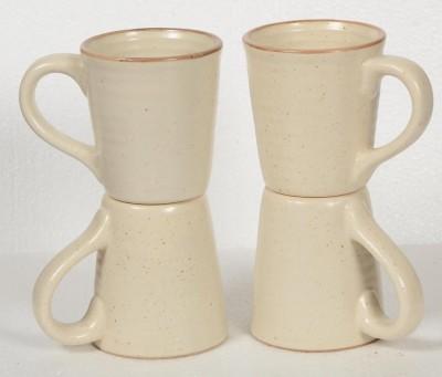 Inhomez Cream Stoneware Ceramic Coffee- Set of 4 Ceramic, Pottery Mug
