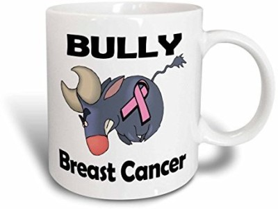 3dRose Bully Breast Cancer Awareness Ribbon Cause Design Ceramic , 15 oz, White Ceramic Mug