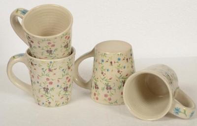 Inhomez Cream Stoneware Ceramic Decal Coffee- Set of 4 Ceramic, Pottery Mug