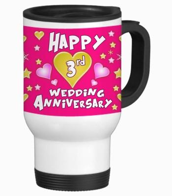 Sajawat Homes 3rd Happy Anniversary White Travel Stainless Steel Mug