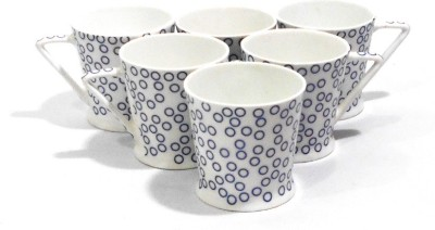 Classique Set Of 6 Pcs Blue Circled Printed Bone China Mug
