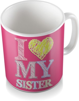 SKY TRENDS GIFT I Love My Sister For Yellow Coloring Heart Pink Abstract Gifts For Rakshabandhan Coffee Ceramic Mug
