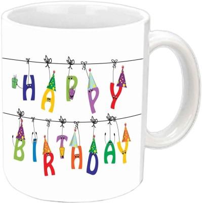 Jiya Creation1 Hanging Happy b,day Multicolor Ceramic Mug
