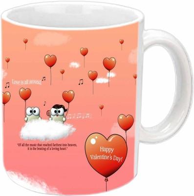 Jiya Creation Heart Balloons Valentine White  Ceramic Mug